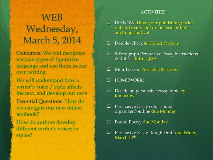 WEB Wednesday, March 5,