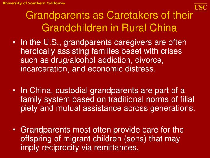 Grandparents as Caretakers of their Grandchildren in Rural China