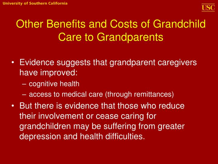 Other Benefits and Costs of Grandchild Care to Grandparents