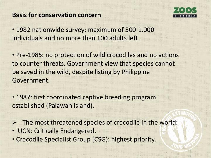 Basis for conservation concern