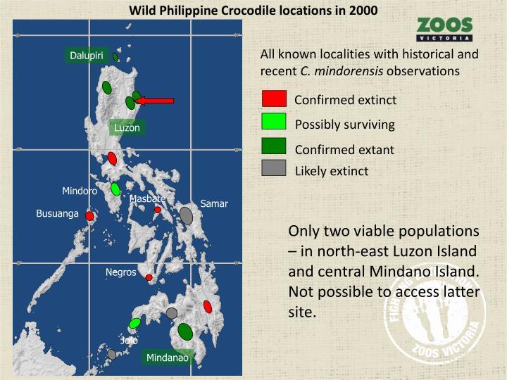 Wild Philippine Crocodile locations in 2000