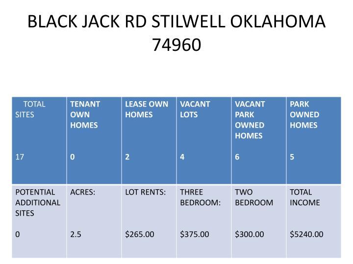 BLACK JACK RD STILWELL OKLAHOMA 74960