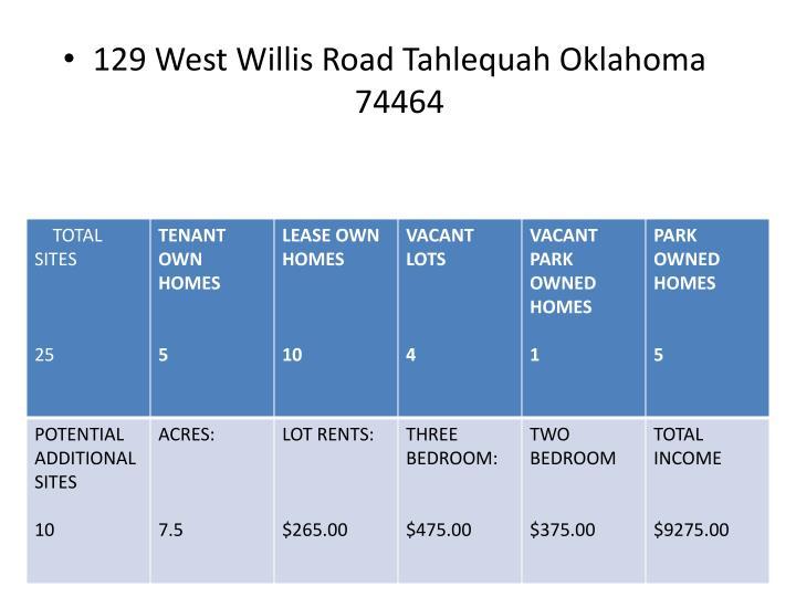 129 West Willis Road Tahlequah Oklahoma 74464