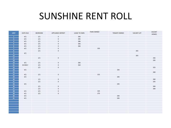 SUNSHINE RENT ROLL