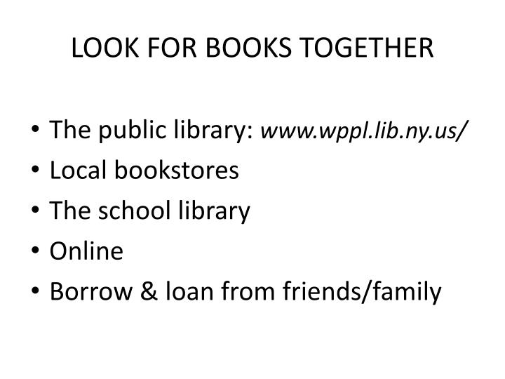 LOOK FOR BOOKS TOGETHER