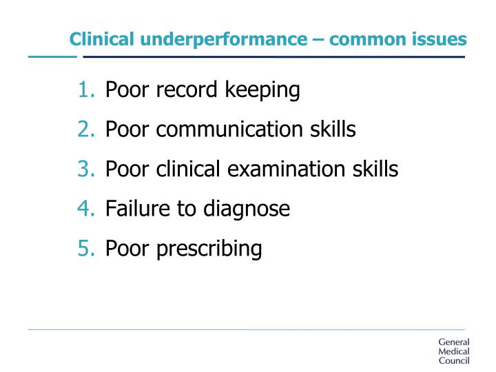Clinical underperformance – common issues