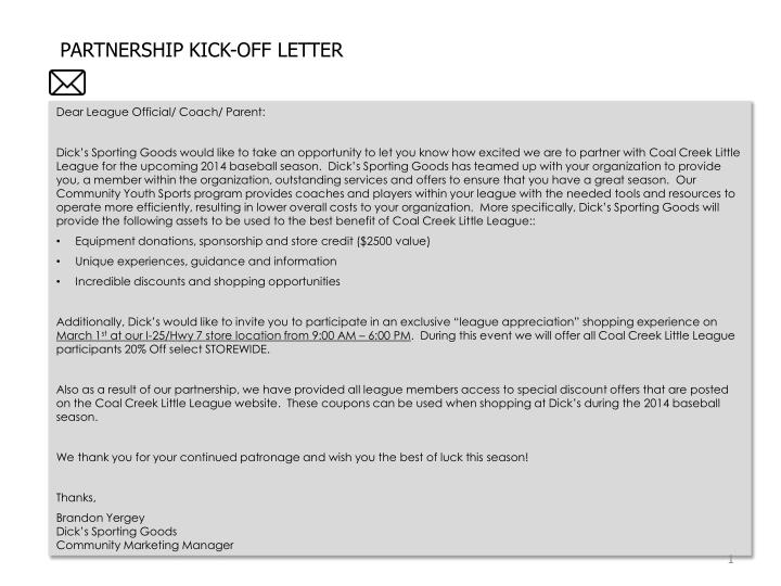 PARTNERSHIP KICK-OFF LETTER