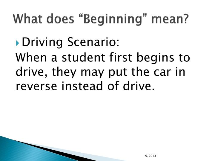"What does ""Beginning"" mean?"