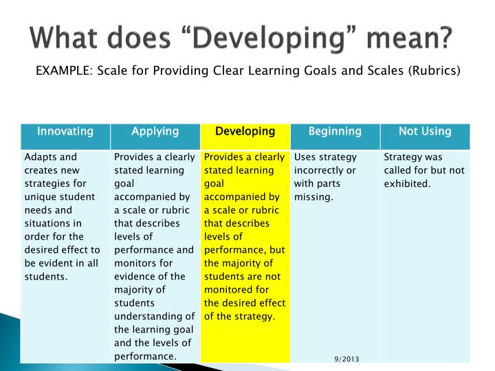 "What does ""Developing"" mean?"
