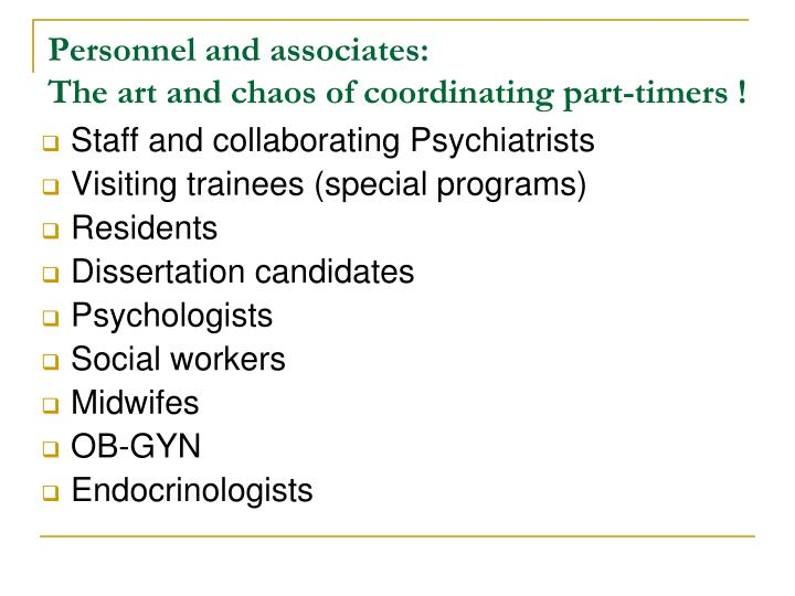 Personnel and associates: