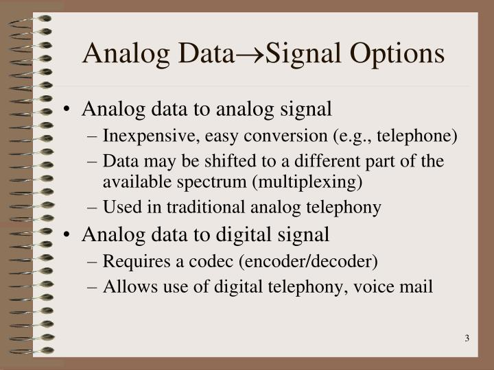Analog data signal options