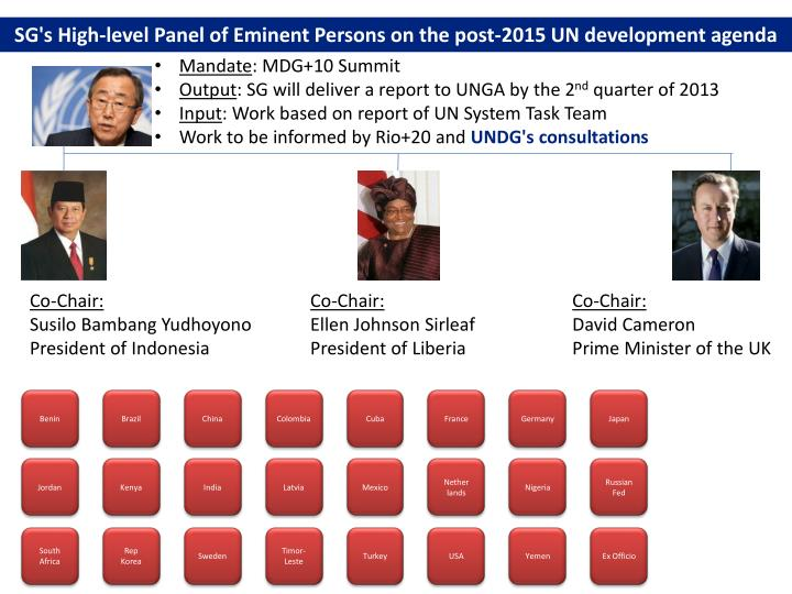SG's High-level Panel of Eminent Persons on the post-2015 UN development agenda
