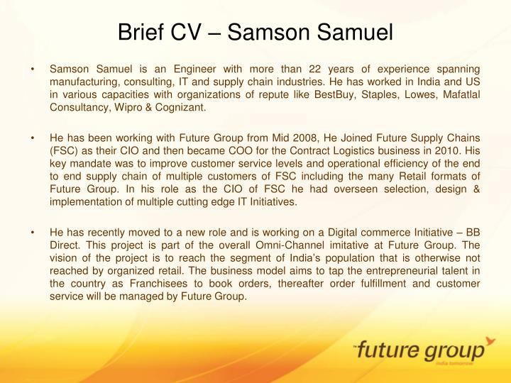 Brief cv samson samuel