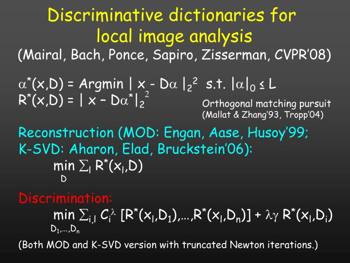Discriminative dictionaries for