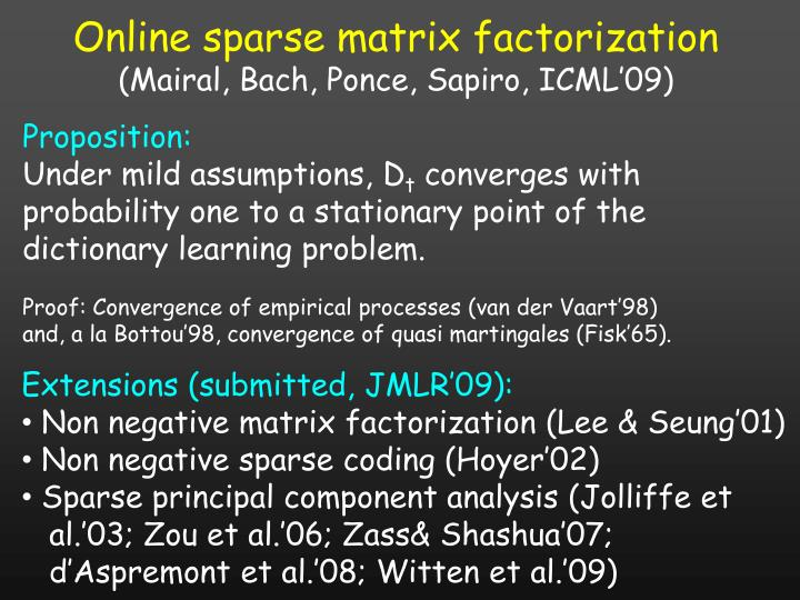 Online sparse matrix factorization