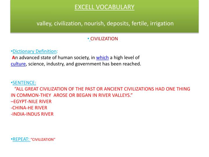 EXCELL VOCABULARY