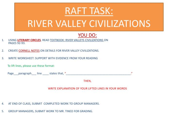 Raft task river valley civilizations