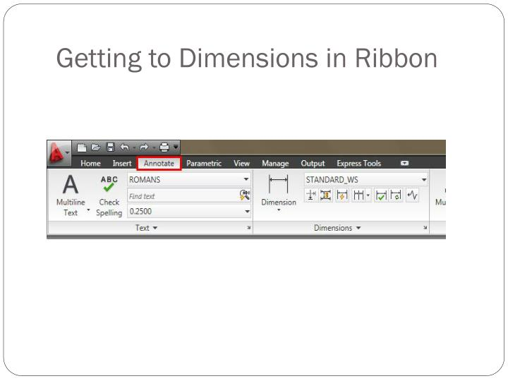 Getting to Dimensions in Ribbon