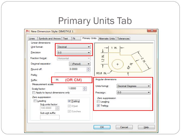 Primary Units Tab