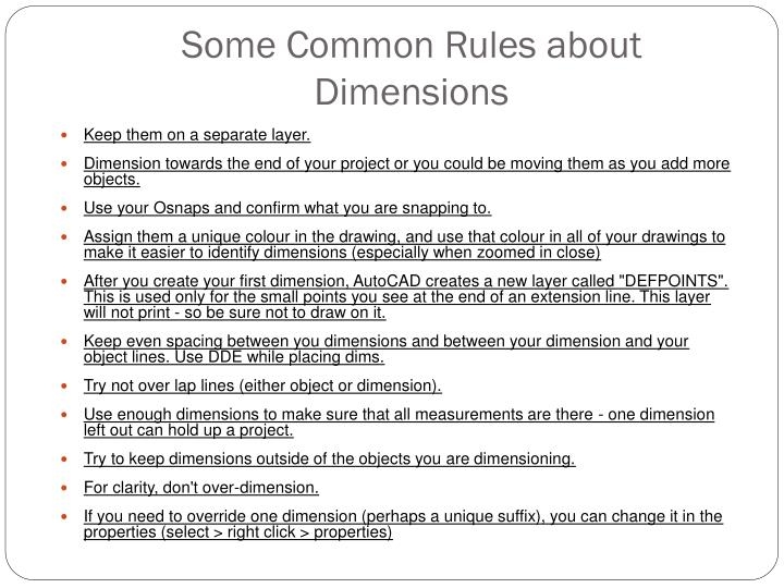 Some Common Rules about Dimensions
