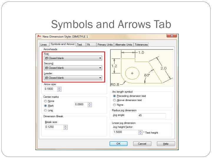 Symbols and Arrows Tab