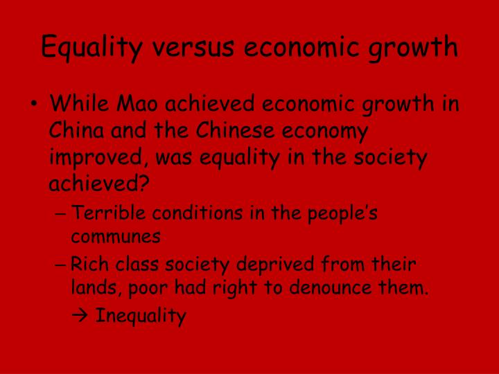 Equality versus economic growth