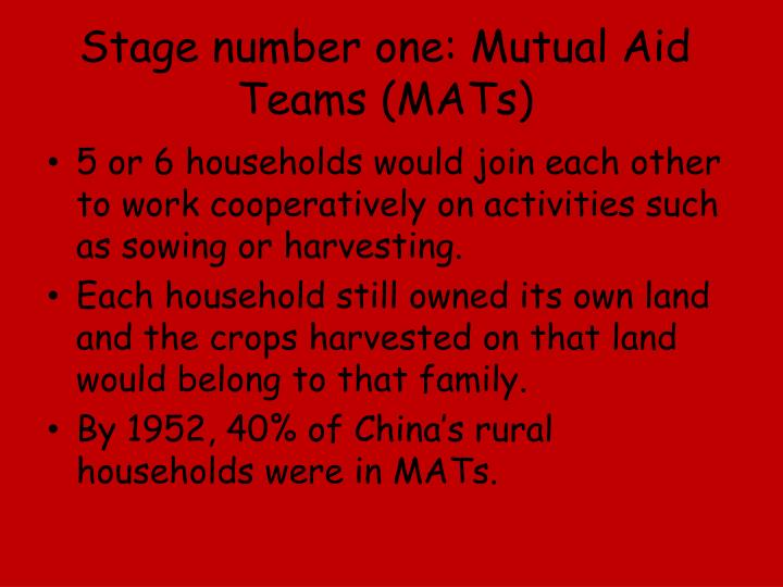 Stage number one: Mutual Aid Teams (MATs)
