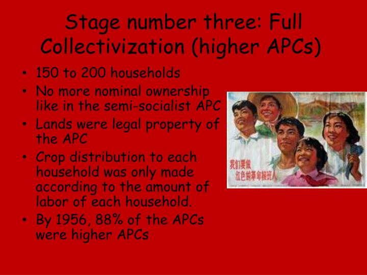 Stage number three: Full Collectivization (higher APCs)