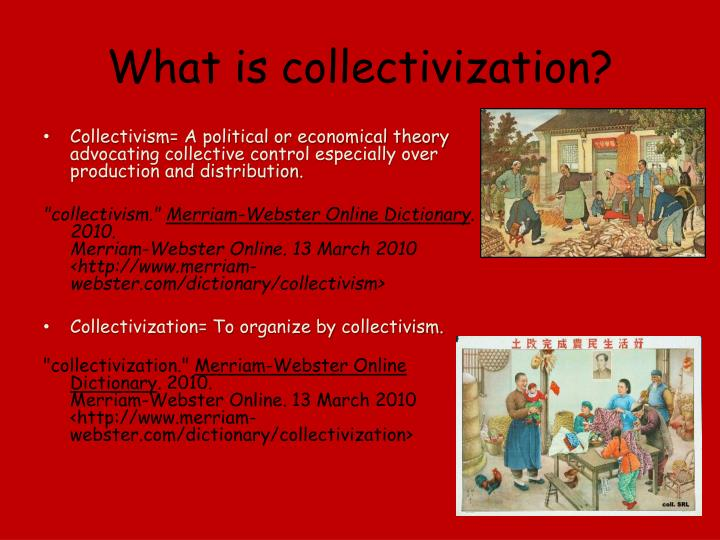 What is collectivization?