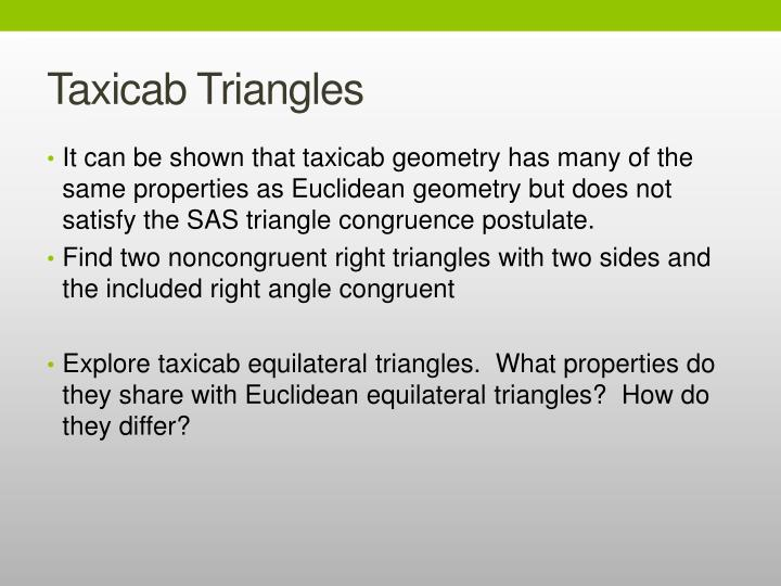 Taxicab Triangles