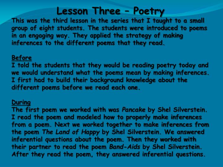Lesson Three – Poetry