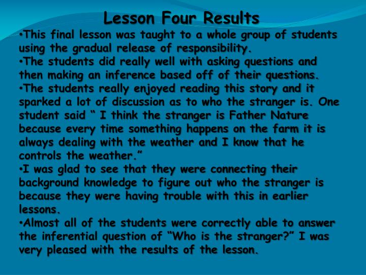 Lesson Four Results