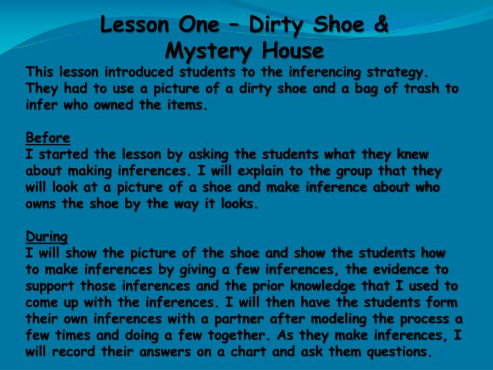 Lesson One – Dirty Shoe &