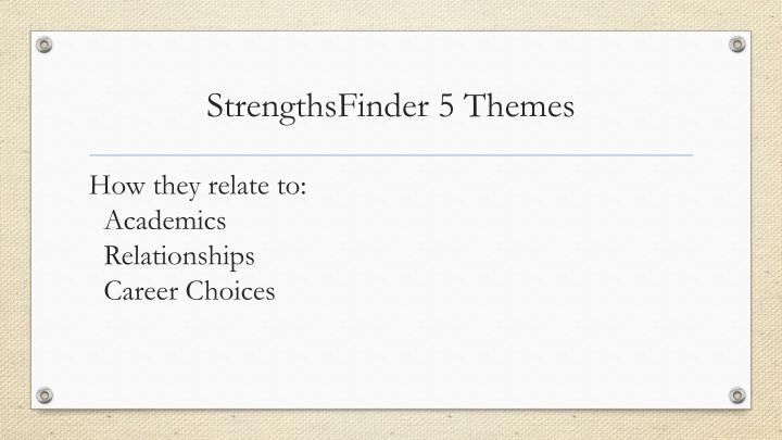 StrengthsFinder 5 Themes