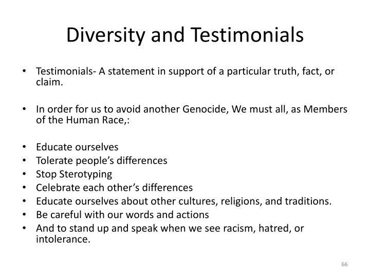 Diversity and Testimonials