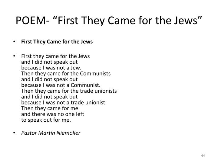 "POEM- ""First They Came for the Jews"""