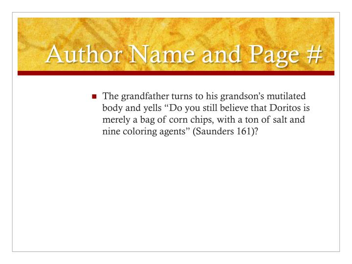 Author Name and Page #