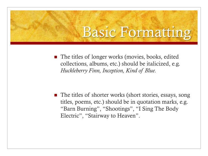 Basic Formatting