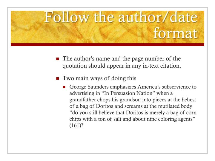 Follow the author/date format