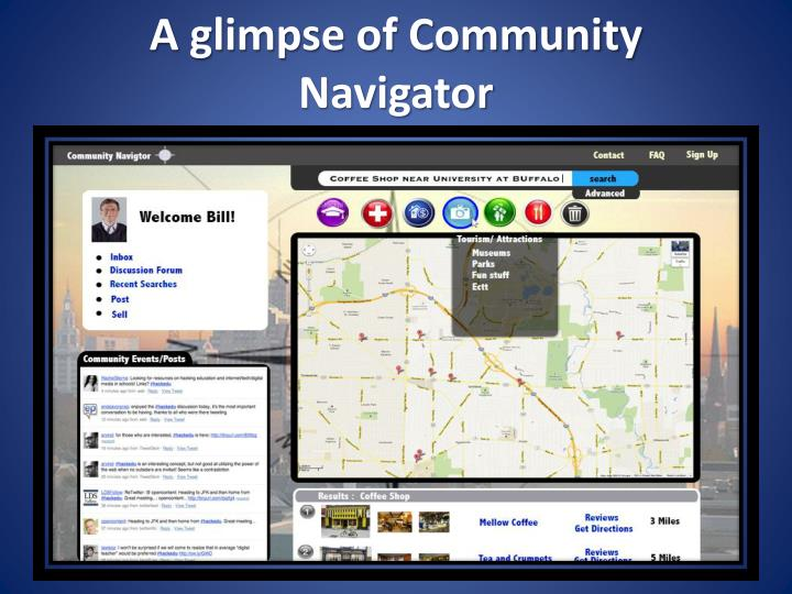 A glimpse of Community Navigator