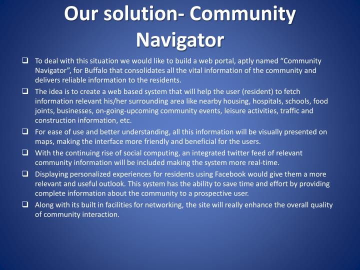 Our solution- Community Navigator