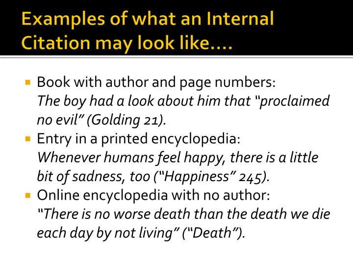 Examples of what an Internal Citation may look like….
