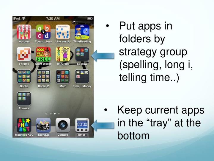 Put apps in folders by strategy group