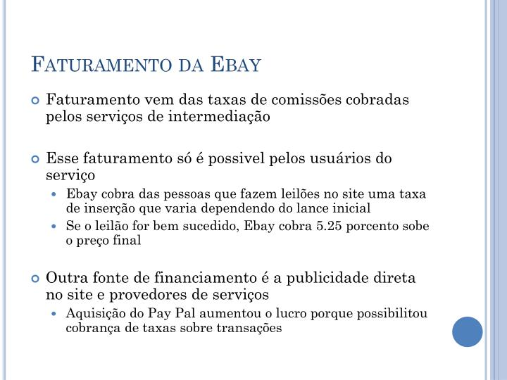 Faturamento da Ebay