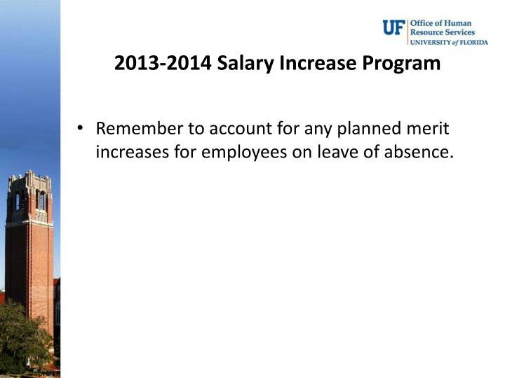 2013-2014 Salary Increase Program