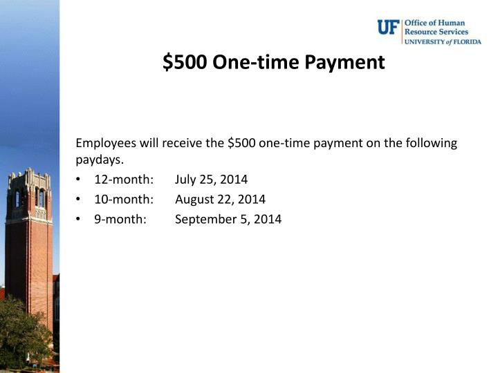 $500 One-time Payment
