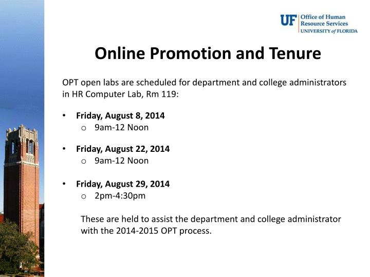 Online Promotion and Tenure
