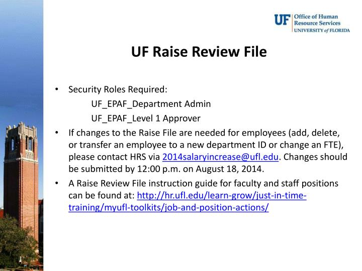 UF Raise Review File