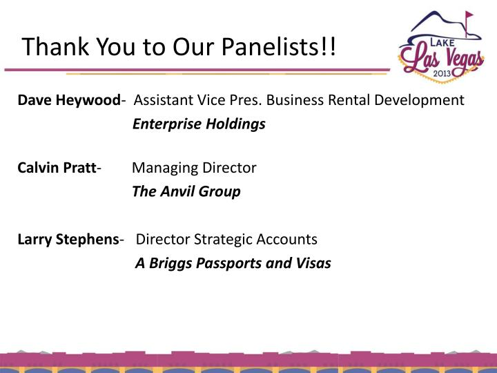 Thank You to Our Panelists!!