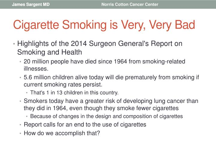 Cigarette Smoking is Very, Very Bad